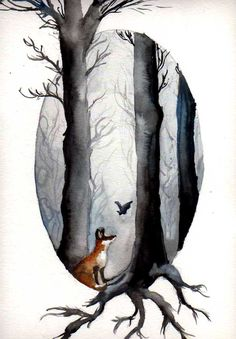 Watercolour/Aquarell The Fairytale of the Fox and the Bat....the story only exists in my mind, so do not wonder if you don´t know it. These two animals are my favorite ones. The Picture is for...