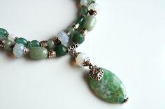 """Mint freshness handmade necklace from natural stones: moonstone, jade & bijou metal #handmade #bijou #bracelet #moonstone #jade"