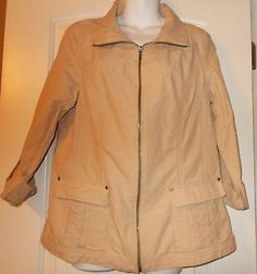 Coldwater Creek Tan Pin Striped Light Jacket Zip Up Front New With Tags Sz 10