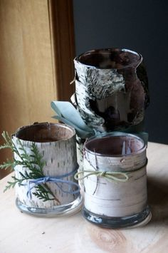 My Rustic Birch Bark Vases and Votive Holders @ rhythm of the home This would mean a nice long hike in the woods for you guys to pick up bark.cute, but it means I'd have more crafting to do in the short time before your wedding once i get there. Woodland Christmas, Christmas Wood, Christmas Crafts, Candle Vases, Glass Candle, Crafts To Do, Wood Crafts, Arts And Crafts, Birch Bark Crafts