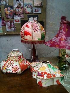 In my studio I'm working on vintage japanese kimono silk lampshades.collection Carolina Breuer