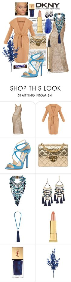"""""""Donna Blue"""" by fabianajuan ❤ liked on Polyvore featuring Donna Karan, Jimmy Choo, Chanel, Rosantica, Kevyn Aucoin and Yves Saint Laurent"""