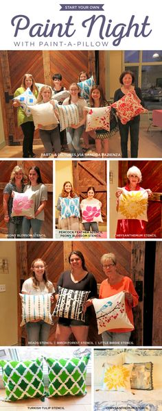 Cutting Edge Stencils shares how to start hosting your own painting party events using Paint-A-Pillow. http://www.paintapillow.com/?utm_source=JCG&utm_medium=Pinterest&utm_campaign=Home%20Page
