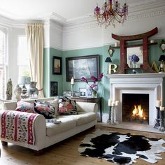 Eclectic color palette, green walls . chair rail, touch of red, pine floor ?, Farrow & Ball arsenic paint