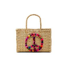 Nannacay Peace Tote Bag ($255) ❤ liked on Polyvore featuring bags, handbags, tote bags, white hand bags, man bag, tote handbags, handbags totes and white tote