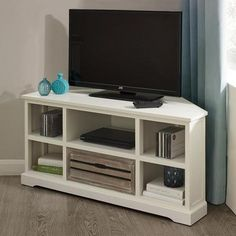 "Atlanta White Corner TV Unit | Dunelm. One size available in W 110cm (43"") x D 45cm (18"") x H 51cm (20"") £149 in front of curtains"