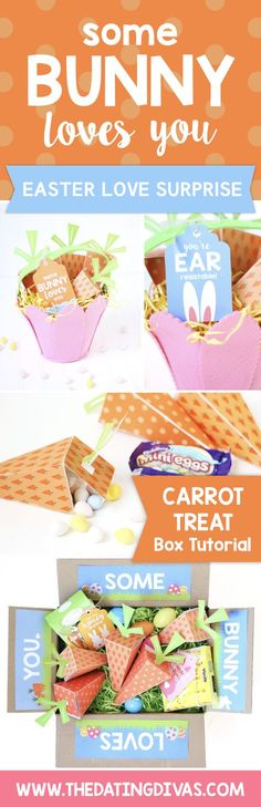 """""""Some BUNNY Love You""""- Easter surprise care package or gift. What a fun idea to do this spring with the family or for your sweetheart. From TheDatingDivas.com"""