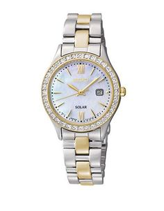 Seiko Ladies Two Tone Gold and Silver Round Crystal Bezel Watch Women'