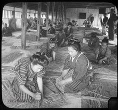 japanese women at work bamboo basket factory