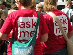 """ArtPrize volunteer t-shirts *Make large name tags that say """"Ask Me"""" for people who need help or information at church.- AM"""