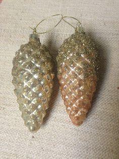 Handblown Mercury Glass Pine Cone Ornament (2 Colors)