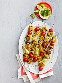 Several summer picinic ideas...curry lime pork kebabs