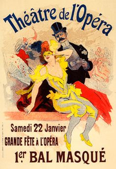 Theatre de l-Opera Bal 1898 poster by Cheret Jules. Subjects : Opera,Maitres de l-affiche. Lithography from ca Parisposters only offers original vintage posters. Vintage French Posters, Vintage Travel Posters, French Vintage, French Postcards, Poster Art, Retro Poster, Art Posters, Theatre Posters, Poster Prints