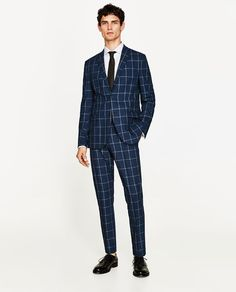Image 1 of WINDOWPANE CHECKED SUIT BLAZER from Zara