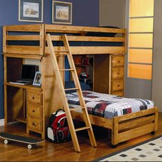Wrangle Hill Twin Over Twin Loft Bed with Built-In Desk by Coaster Furniture at Del Sol Furniture Double Bunk Beds, Loft Bunk Beds, Modern Bunk Beds, Kids Bunk Beds, Modern Bedroom, Master Bedroom, Pine Bedroom, Bedroom Loft, Bedroom Wall