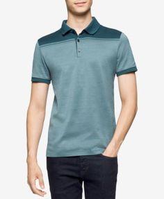 CALVIN KLEIN Calvin Klein Men's Colorblocked Jacquard Polo. #calvinklein #cloth # polos