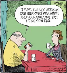 """Dave Coverly, the creative mind behind this one-panel comic strip, says Speed Bump depicts the """"movie of life. English Jokes, English Fun, Grammar Jokes, Writer Humor, Cartoon Posters, Cartoons, Speed Bump, Read Comics, Jokes For Kids"""