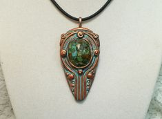 *Reserved for Renee* copper polymer clay shield pendant with jasper stone by Sweet2Spicy, $15.00 USD