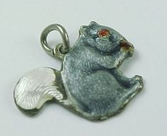Vintage Sterling Silver Charm SQUIRREL Guilloche Enameling