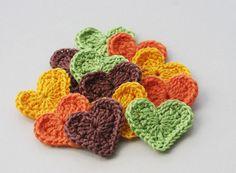 EllesHeart Loves ~ Crochet Hearts #Crochet #Hearts #Crochethearts #Inspiration #Tutorial #Pattern #Vintage #Valentine #Love ~ Crochet heart appliques in woodland colors