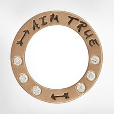 "Size 4 (5/8""), rose gold open circle, 1.5mm white diamonds, small arrow stamps, ""Aim True"""