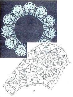 "Photo from album ""Ganchillo 274 Puntorama on - Her Crochet Col Crochet, Crochet Lace Collar, Crochet Video, Crochet Borders, Crochet Chart, Thread Crochet, Crochet Scarves, Crochet Motif, Crochet Doilies"