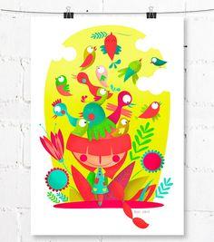 Lámina imprimible. Archivo PDF | Pájaros en la cabeza | Arte para niños | Decoración infantil | Niña pelirroja