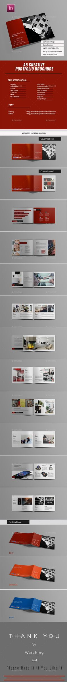 A5 Portfolio Creative Agency Brochure — InDesign INDD #simple #photographer • Available here → https://graphicriver.net/item/a5-portfolio-creative-agency-brochure/18297994?ref=pxcr