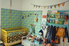 Kids room, I like the wall paper section on the wall