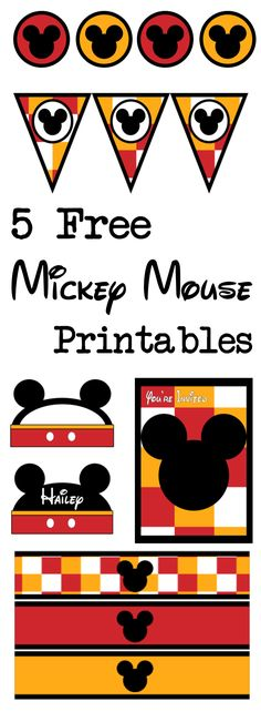 Mickey Mouse free printables for a Disney themed party. Free banner, water bottle wrappers, cupcake toppers, invitations, name cards, and food labels.