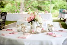 pink and white classic Southern reception, pink and white classic Southern tablescape, pink and white hydrangeas in milk glass centerpieces, pink and white Southern shabby chic wedding