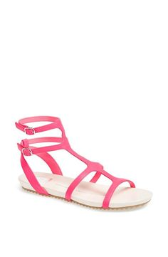 Want for summer! Bright pink sandals with a hint of gladiator style.