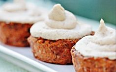 Ingredients: For the cupcakes: 1 cup walnuts (not soaked) 1 cup dates 2 cups grated raw carrots, squeezed well through cheesecloth or with paper towel to remove as much excess... More