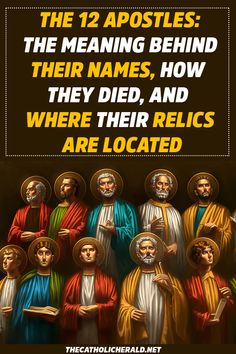 The 12 Apostles: The Meaning Behind Their Names, How They Died, and Where Their Relics Are Located Die 12 Apostel: Die Bedeutung hinter ihren Namen, wie sie starben und wo sich ihre Reliquien befinden # Heilige Bible Prayers, Catholic Prayers, Bible Scriptures, Catholic Bible, Bible Study Notebook, Scripture Study, Catholic Herald, Catholic Saints, Catholic Relics
