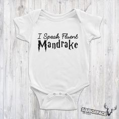 Harry Potter Baby Speaks Mandrake Bodysuit / Cute Harry Potter Cute Harry Potter, Baby Suit, Suits, Trending Outfits, Clothes, Outfits, Clothing, Clothing Apparel, Suit