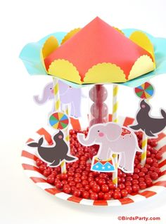 DIY Circus Party centerpiece made with candy and printable paper decorations
