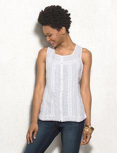 Crochet-Lace Button-Down Tank Top