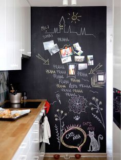 Start a chalkboard wall in your kitchen – great for writing messages and reminders! | Kitchen planning tips from Tomas's apartment in Prague #IKEAIDEAS