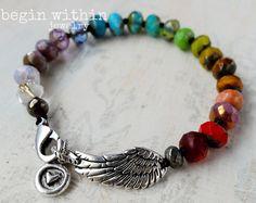 Pulsera ala del ángel del arco iris   Pulsera Angel de la terapia del color   Joyería de Chakra