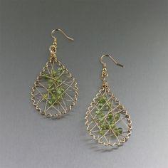 Handmade Designer Jewelry • Scalloped Peridot Wire Wrapped Tear Drop Earrings ...