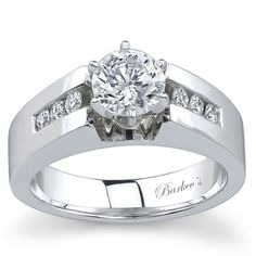 Barkev's 14K White Gold Round Cut Channel Set Wide Diamond Engagement Ring Featuring 0.18 Carats Round Cut Diamonds Style 3661L