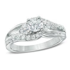 1 CT. T.W. Diamond Three Stone Swirl Engagement Ring in 14K White Gold