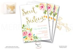 First Birthday Invitation //Roses /Peonies //Peony// ONE // Pink // Gold Glitter // Yellow// MALIBU COLLECTION by MerrimentPress on Etsy https://www.etsy.com/listing/266763549/first-birthday-invitation-roses-peonies