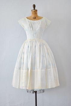 vintage 1950s pale blue organza embroidered dress