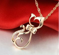 Effie Queen Pendant Necklace Elegant for Women With Paved CZ Crystal Cute Cat Necklace – Accessories & Products for Cats