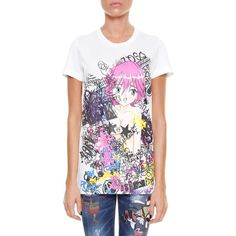 DSQUARED2 'Punk manga gang' printed t-shirt (£155) ❤ liked on Polyvore featuring tops, t-shirts, multicolor, punk t shirts, multicolor t shirt, white tee, punk rock t shirts and colorful t shirts