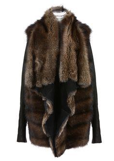 Rick Owens Fur & shearling :: Rick Owens brown fisher fur and black kangaroo leather zipped jacket | Montaigne Market