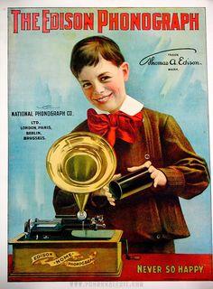 Edison phonograph vintage poster, The Edison phonograph, national phonograph CO.LTD London Paris Berlin Brusseles, Circa 1901 Posters Vintage, Vintage Advertising Posters, Old Advertisements, Advertising Signs, Vintage Labels, Vintage Ephemera, Vintage Ads, Vintage Images, Vintage Prints