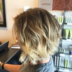 brown to blonde messy ombre bob. loose messy shag. #Hairstyles