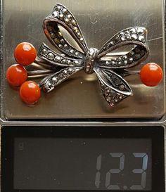 1920s Art Deco Brooch Coral Marcasite European Sterling 900